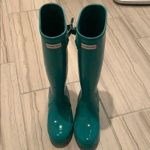 Turquoise Tall Hunter rain boots